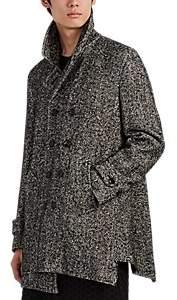 Comme des Garcons Men's Asymmetric Wool-Blend Tweed Peacoat - Black