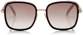 Jimmy Choo ELVA Burgundy and Gold Metal Oversized Sunglasses with Crystal Fabric Detailing