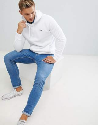 Hollister icon logo hoodie in white