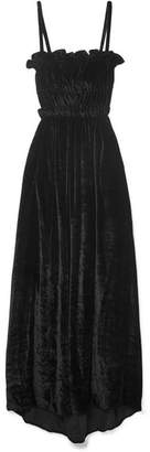 ALEXACHUNG Ruffled Shirred Crushed-velvet Maxi Dress - Black