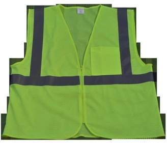 Petra Roc LVM2-CB0-2X-3X Safety Vest Ansi Class 2 Lime Mesh Zipper Closure 1 Chest Pocket, 2X & 3X