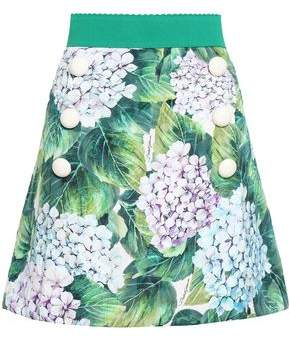 Dolce & Gabbana Cotton-blend Floral-jacquard Mini Skirt