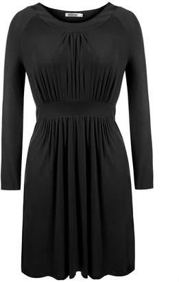 Meaneor Women Long Sleeve Draped Dress Scoop Neck Flattering Dress (L-4XL)