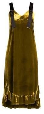 Mother of Pearl Women's Florence Velvet Dress - Mustard - Size UK 14 (10)