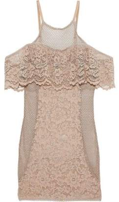 Else Petunia Cold-shoulder Crochet-paneled Corded Lace Chemise