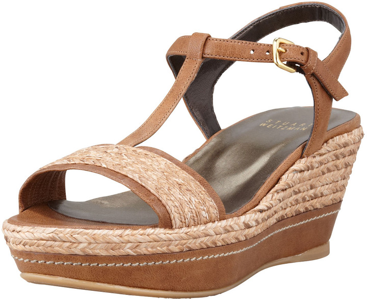 Stuart Weitzman Flatty Raffia Braided Wedge Sandal, Fawn