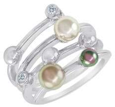 Majorica 4MM Multicolor Round Pearl & Sterling Silver Endless Wrap Ring