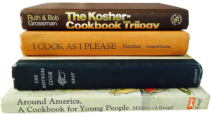One Kings Lane Vintage Black & Tan Cookbooks - Set of 4 - Brandywine Bookshop