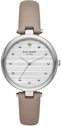 Kate Spade Varick stainless steel grey leather watch