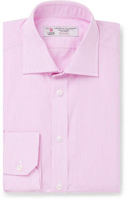 Turnbull & Asser Light-Pink Slim-Fit Pinstriped Cotton-Poplin Shirt