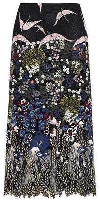 Valentino Embroidered Cotton-blend Crocheted Midi Skirt