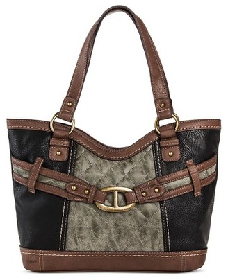 Bolo Women's Faux Leather Tote Handbag with Front/Back/Interior Compartments with Top Zipper Closure - Black/Charcoal/Walnut $39.99 thestylecure.com