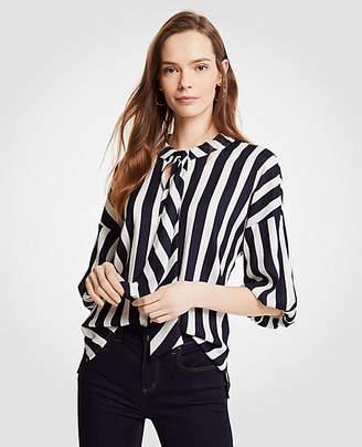 Ann Taylor Petite Stripe Tie Neck Puff Sleeve Blouse