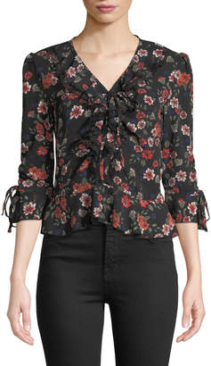 Free Generation Floral-Print Ruffle-Front V-Neck Blouse