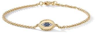 David Yurman 18kt yellow gold Cable Collectibles diamond and sapphire evil eye charm bracelet