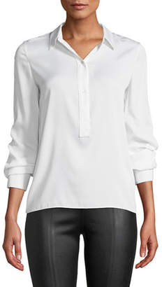 Vince Slim-Fit Silk Button-Front Popover Shirt