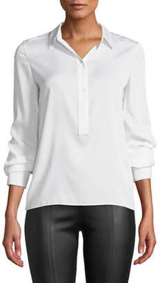 Vince Slim-Fit Silk Button-Front Popover Shirt