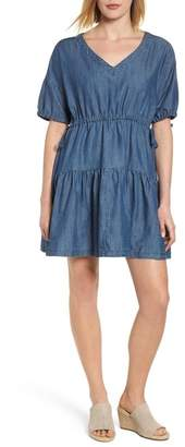 Caslon Tiered Chambray Dress (Regular & Petite)