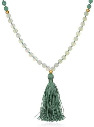 Satya Jewelry Womens New Jade Gold Om Mala Necklace 36-Inch