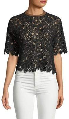 Valentino Open-Back Guipure Lace Top