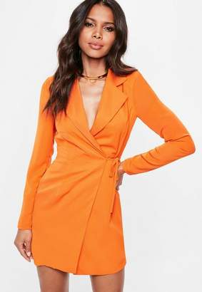 Missguided Orange Cut Out Back Tie Detail Blazer Dress