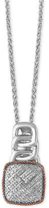 Effy Diamond Pave Pendant Necklace (1/8 ct. t.w.) in Sterling Silver and 14k Rose Gold