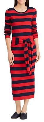 Ralph Lauren Striped Tie-Waist Midi Dress
