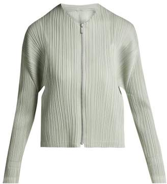 Pleats Please Issey Miyake - Collarless Pleated Jacket - Womens - Silver