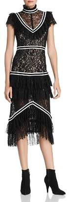 Alice + Olivia Annetta Tiered Ruffled Lace Dress