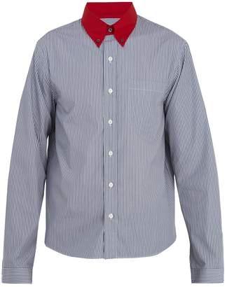 Prada Contrast point-collar striped cotton shirt
