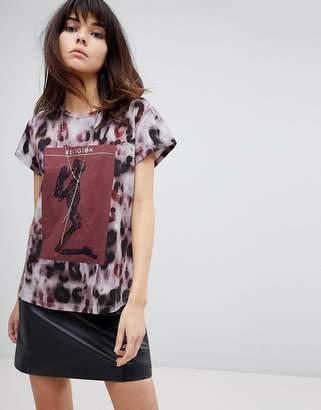 Religion Oversized Logo T-Shirt In Animal Print