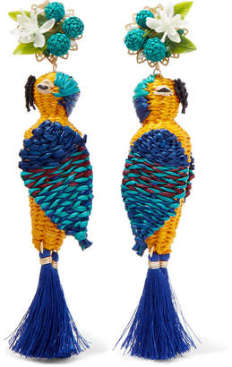 Mercedes Salazar Tropic Parrot Gold-tone, Woven And Tasseled Clip Earrings - Blue