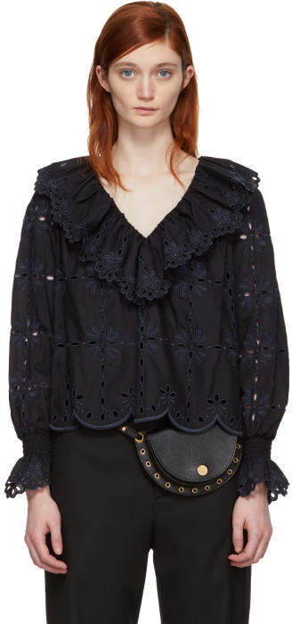 See by Chloe Black Broderie Anglaise Ruffle Blouse