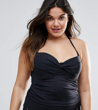 Asos DESIGN CURVE Mix and Match Tankini Bikini Top with Eyelets
