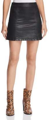 AG Jeans Adaline Coated Denim Mini Skirt in Leatherette Super Black