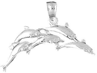 JewelsObsession 18K Gold Dolphin Pendant - 25 mm
