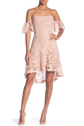 Endless Rose Off-the-Shoulder Hi-Lo Lace Dress