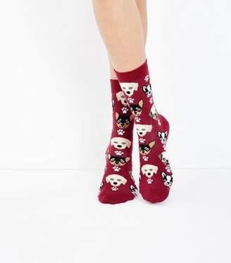New Look Burgundy Dog Pattern Socks