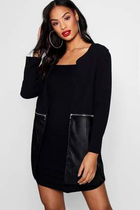 boohoo Zip Faux Leather Detail Duster