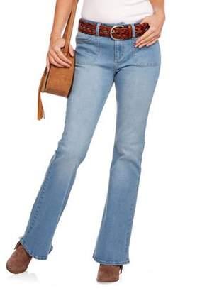 Nevermind Women's Beatnik Porkchop Pocket Flare Jean featuring Premium Stretch