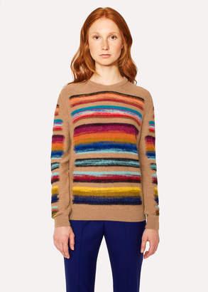 Paul Smith Women's Camel Wool-Blend Multi-Coloured Stripe Sweater