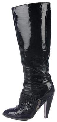 Just Cavalli Patent Leather Round-Toe Boots