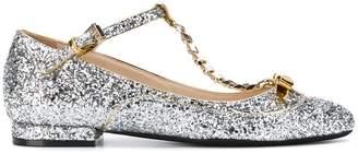 No.21 glitter T-bar ballerina shoes