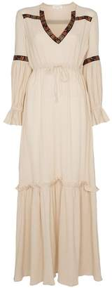 Celia Dragouni Gathered sleeve V-neck cotton dress