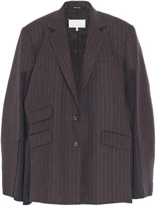 Maison Margiela Cape-Effect Striped Wool Blazer