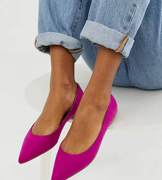 d813d31b818c Asos Design DESIGN Latch pointed ballet flats in fuchsia