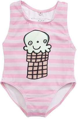 Stella McCartney Molly Striped Ice Cream One-Piece Swimsuit, Size 12-36 Months
