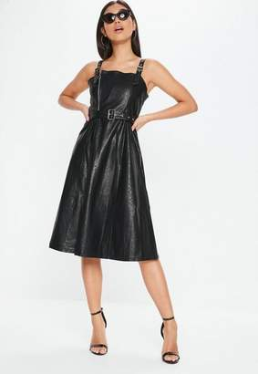 Missguided Black Faux Leather Belted Dress