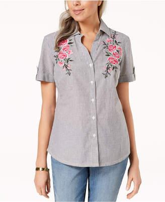 Karen Scott Cotton Embroidered Shirt, Created for Macy's