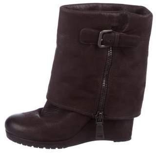 Prada Leather Wedge Boots